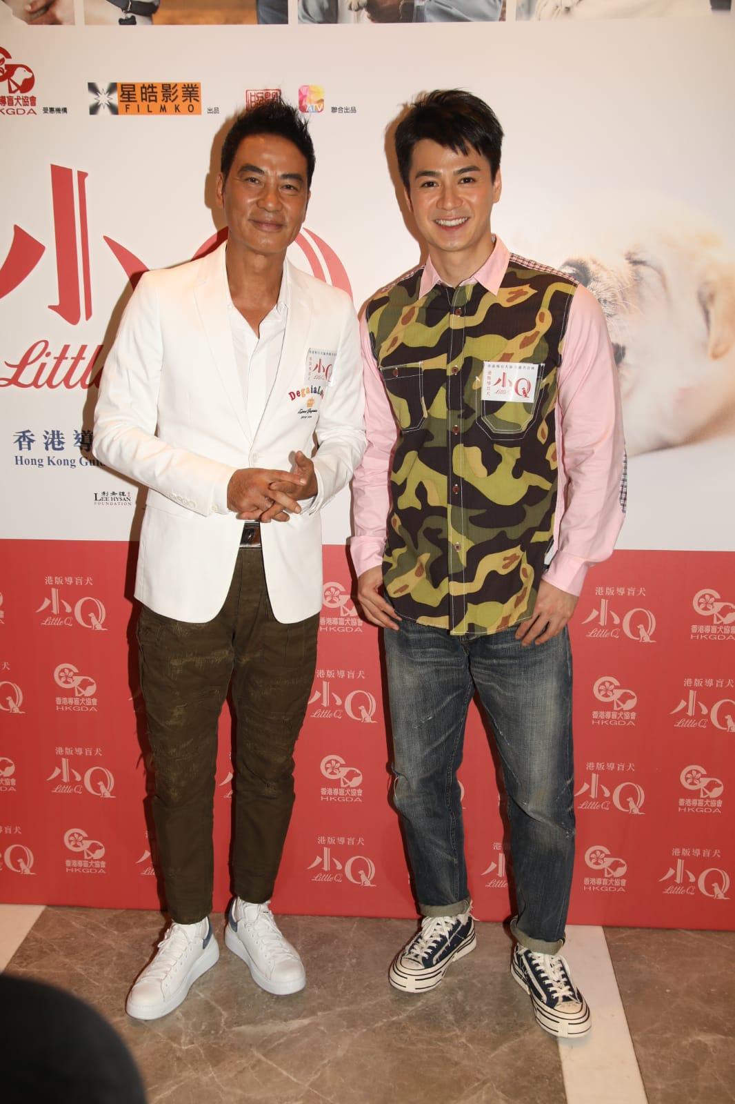 任達華(左)、羅仲謙(右)出席電影《小Q》慈善首映禮。