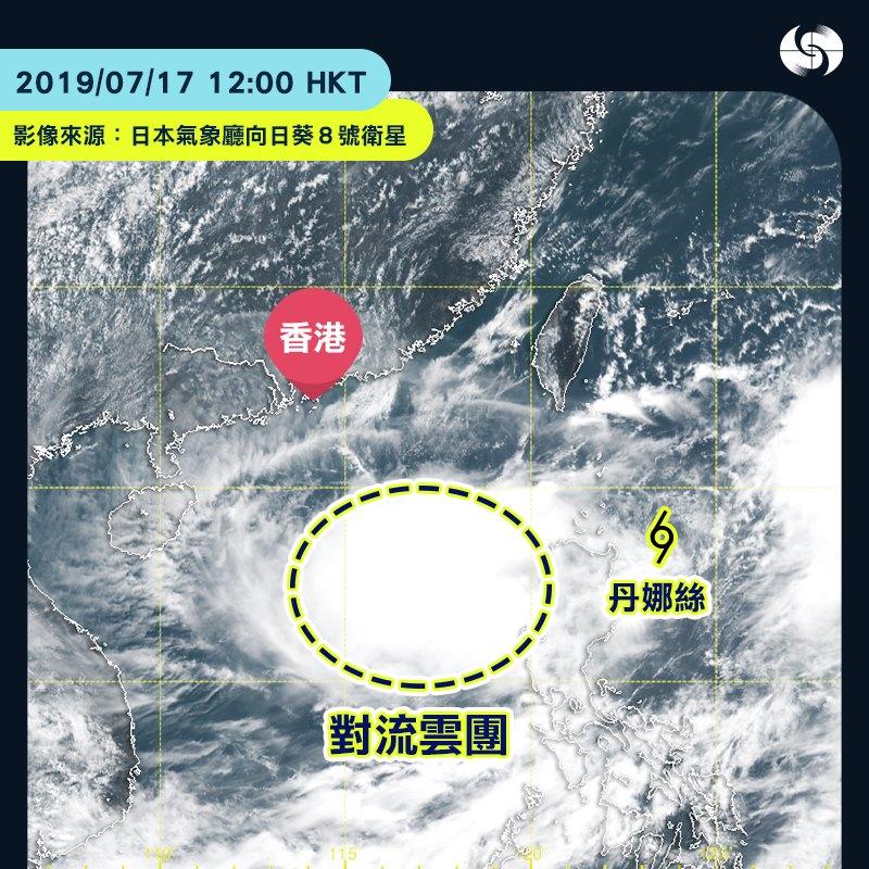 呂宋以西海域出現強烈對流雲團。天文台圖片