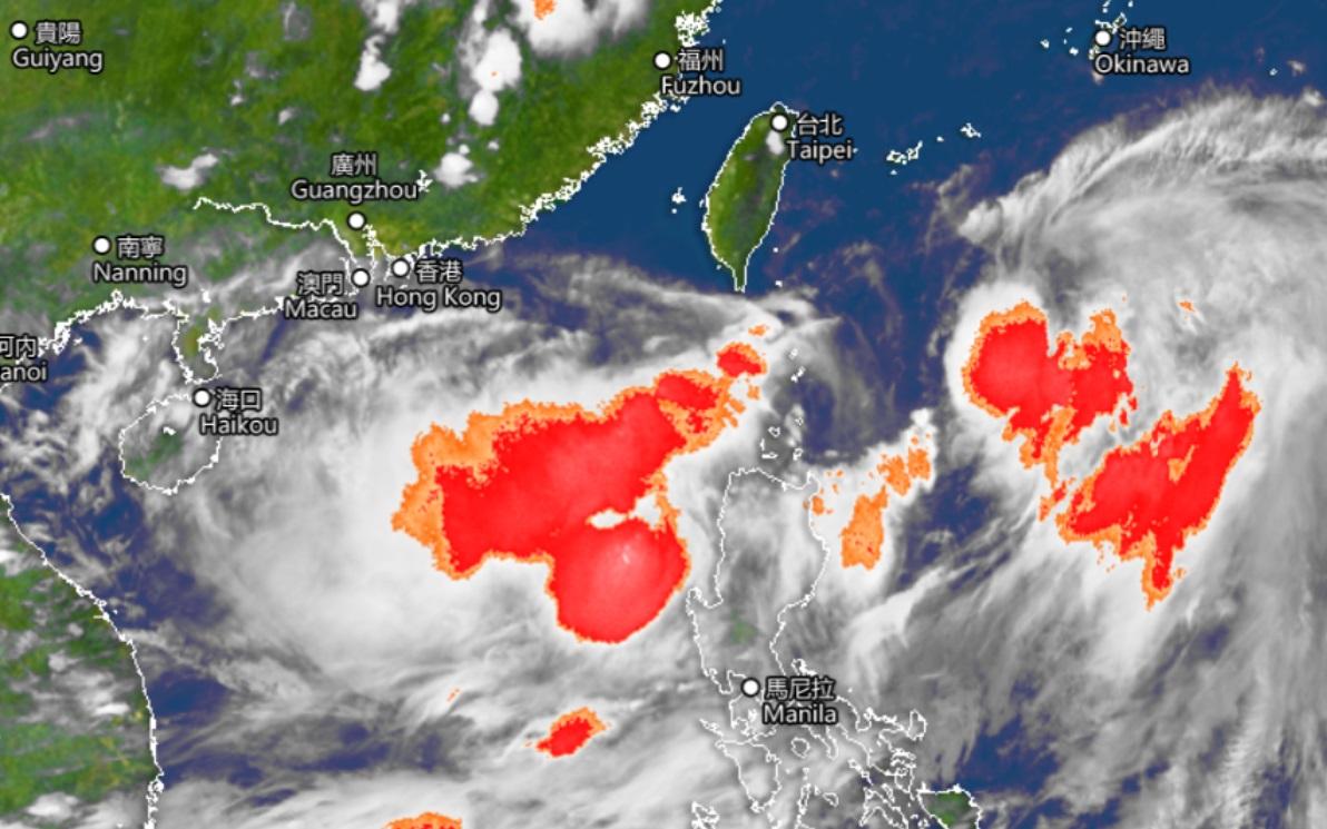 圖中受強對流天氣影響的區域以紅色顯示。