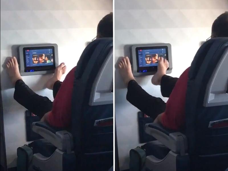 一名男乘客在搭乘飛機時,竟用腳指來滑著座位前方的電視觸控螢幕。影片截圖