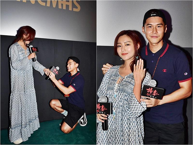 陳家樂在謝票活動,重演戲中向衛詩雅求婚的一幕。
