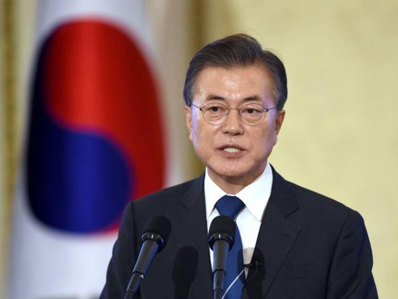 文在寅加強指責日本對南韓實施的半導體出口管制。AP