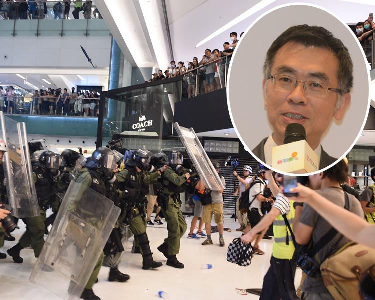 廖國偉(小圖)重申商場管理公司當日並無要求警員進入商場。