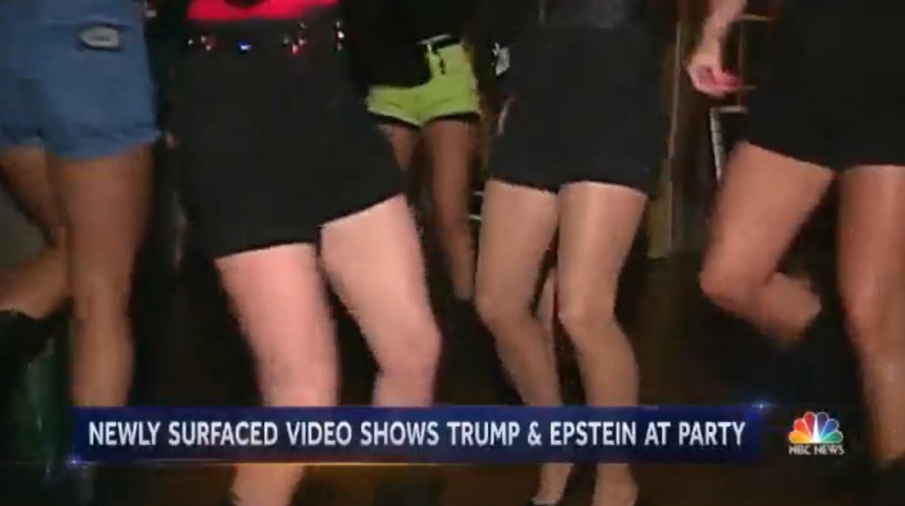 特朗普27年前與富豪愛潑斯坦開派對看美女熱舞。網上圖片