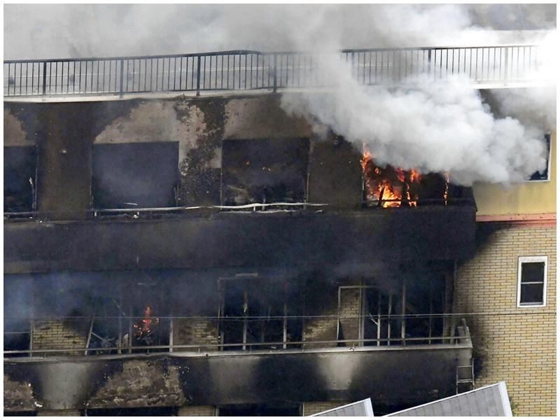 京阿尼遭縱火。AP