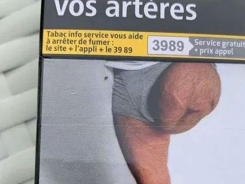 法國一名60歲男子赫然在香煙包裝上,看到自己被截除其中一隻腳的照片。網圖