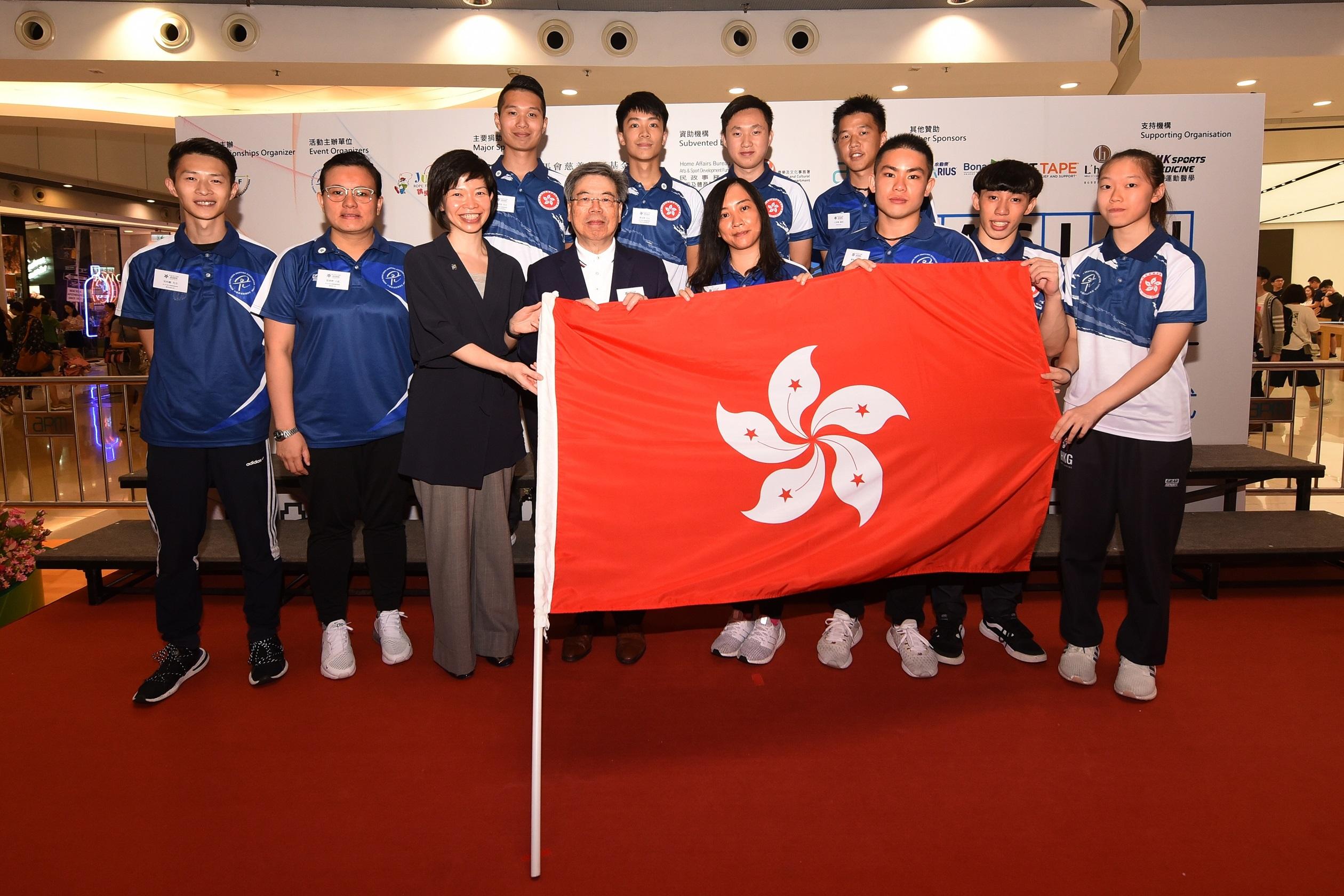 今舉行亞洲跳繩錦標賽授旗禮,為主場作戰的港將打氣。相片由公關提供