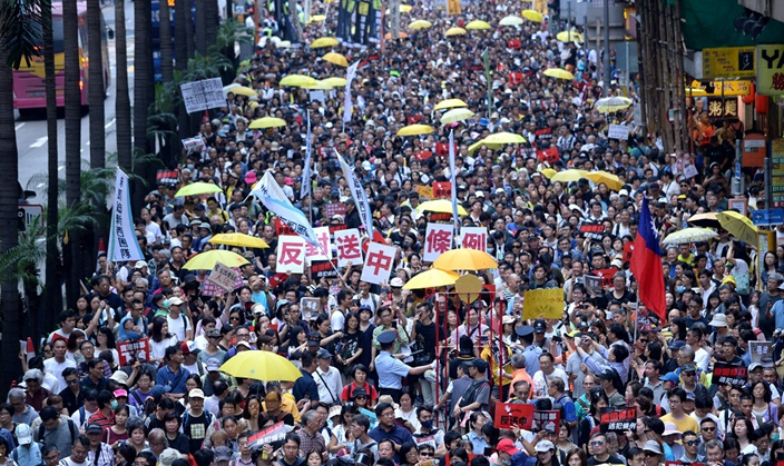 民陣今日再在港島區發起反修例遊行。資料圖片