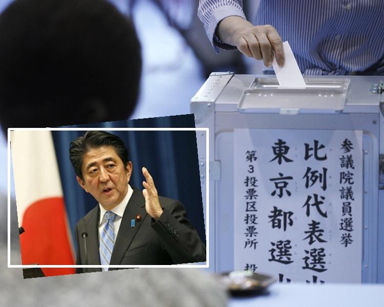 安倍晉三領導的執政聯盟有望贏得半數議席。AP