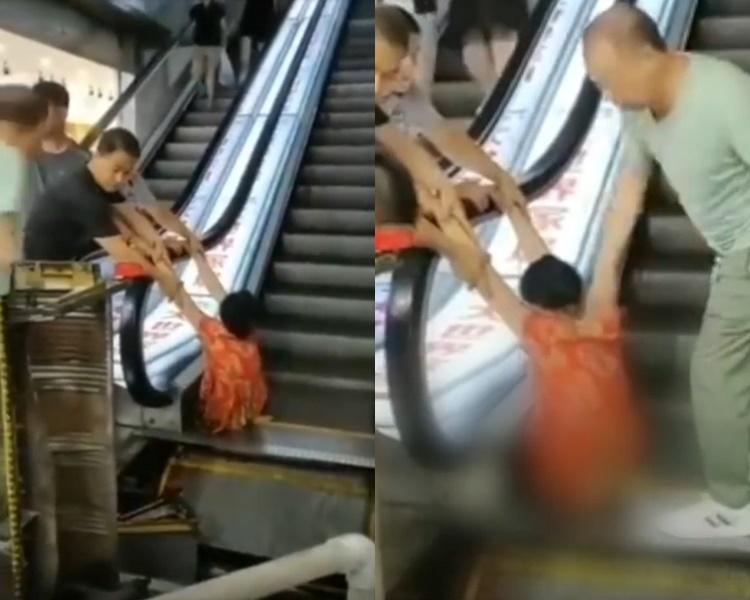 女子下半身嵌入扶手梯內。網圖