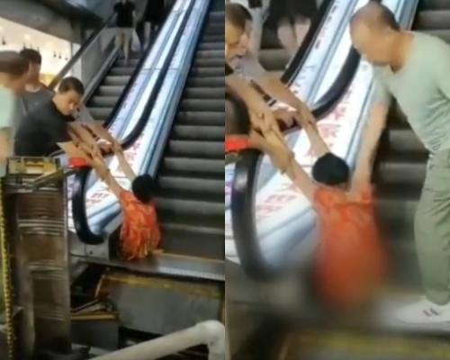 哈爾濱商場扶手電梯噬人 女子左小腿以下截斷