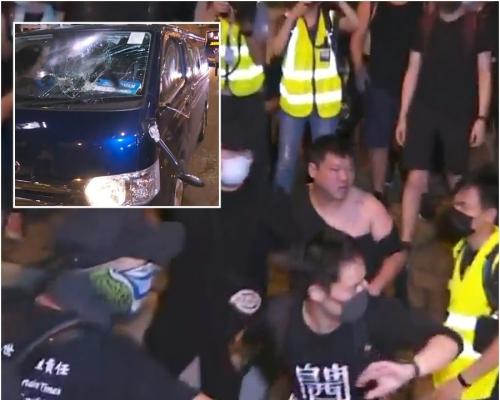 【721遊行】中環司機不滿堵路與示威者爆毆鬥 客貨車被砸毀