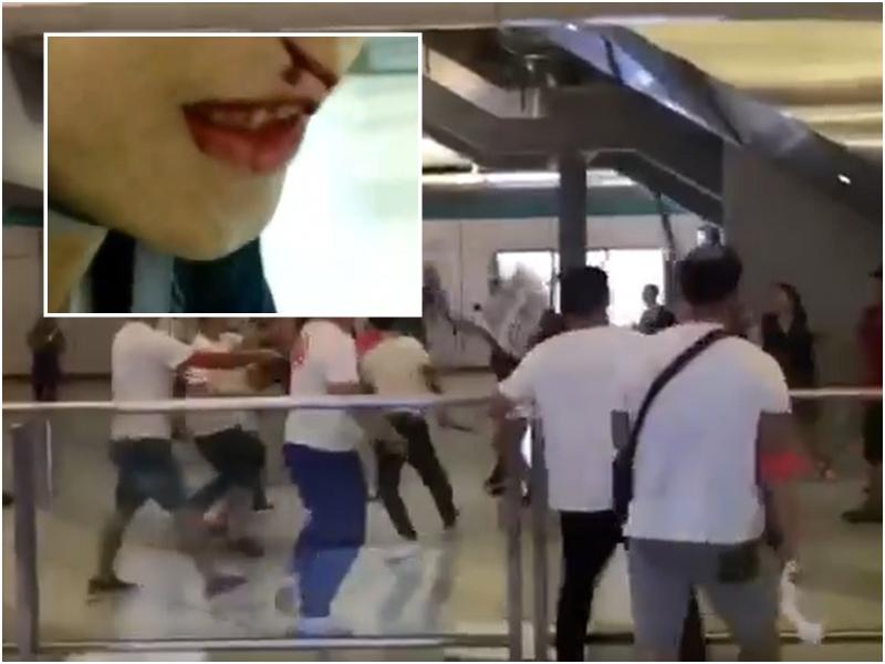 白衣人元朗站大堂向市民施襲。網民Elmo Lau