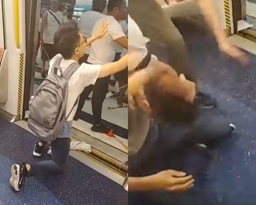 【元朗暴力】青年跪地求饒望停手 助白衣人尋眼鏡後被重拳擊倒