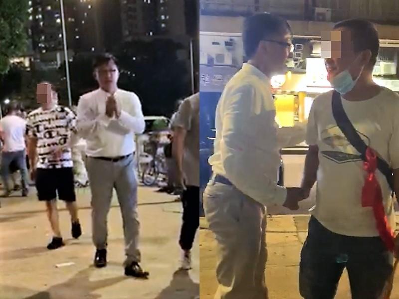 何君堯昨晚與白衣人握手。
