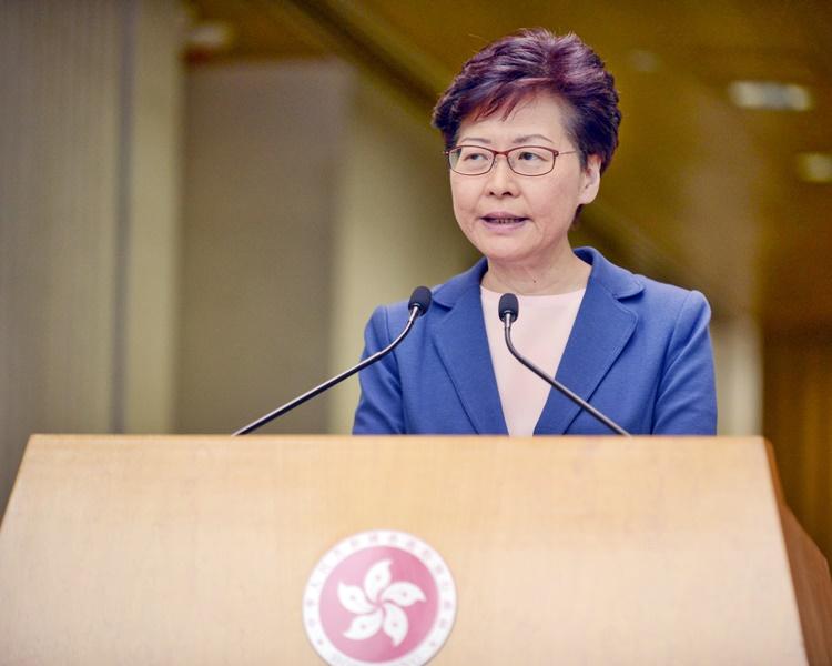 林鄭月娥下午3時在行政長官辦公室地下大堂會見傳媒。資料圖片