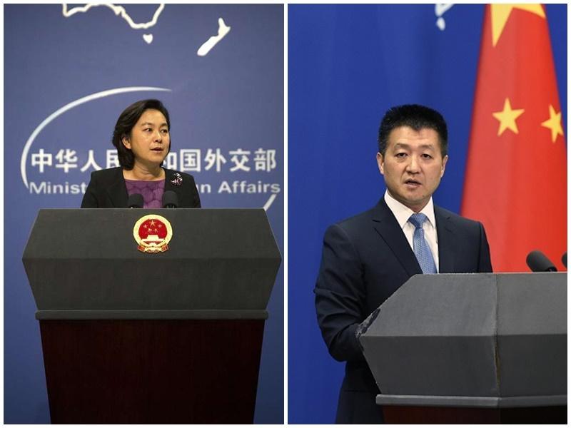 華春瑩(左)將接替陸慷(右)成為新聞司。AP/新華社