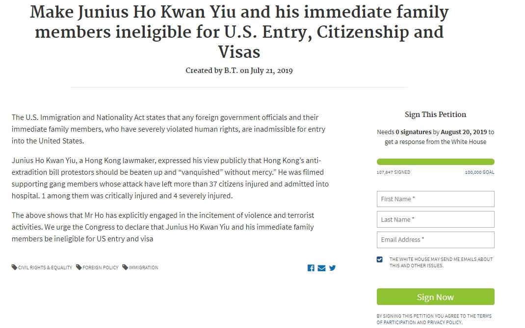 目前已經成功取得10萬人聯署。