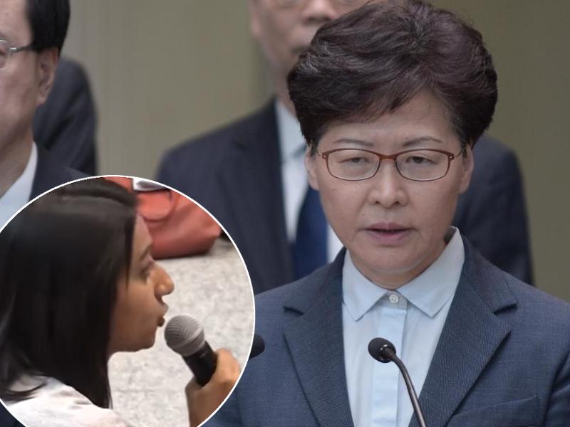 利君雅在記者會中多次追問林鄭月娥。