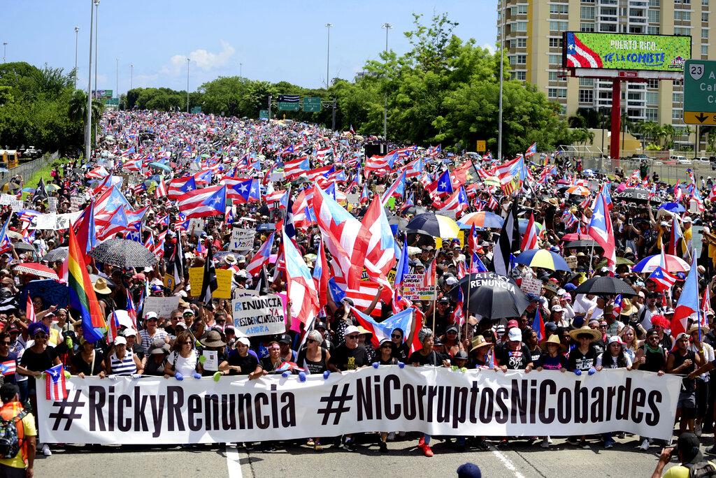 波多黎各民眾要求總督即時下台。AP圖片
