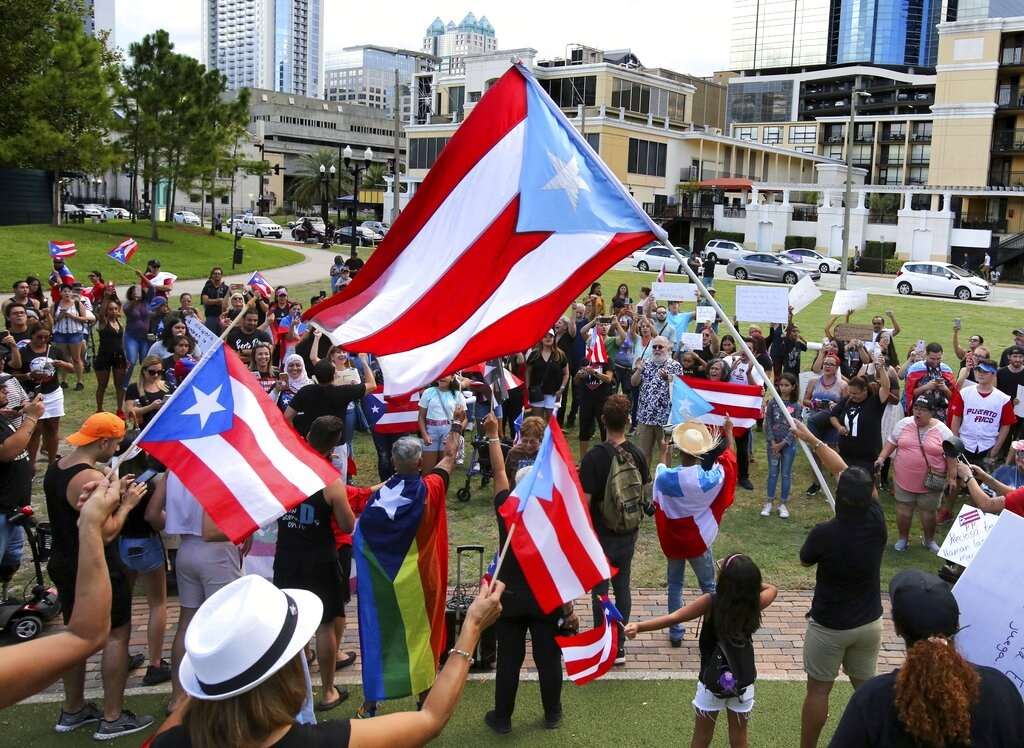 波多黎各民眾上街示威。AP圖片