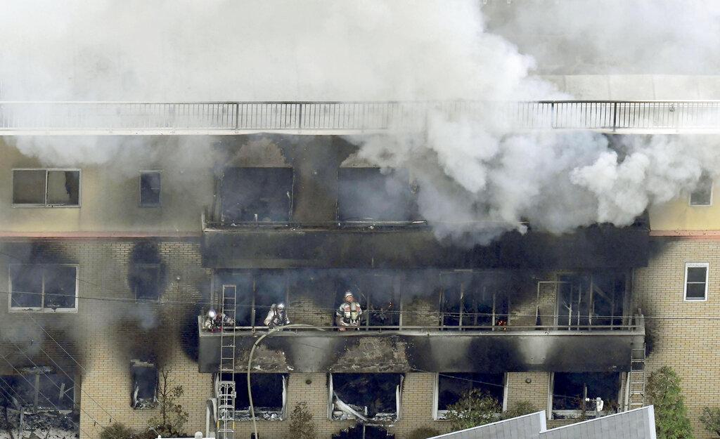 日本「京都動畫」工作室於18日遭41歲疑犯青葉真司縱火。AP圖