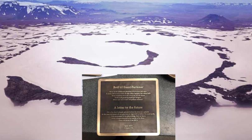 冰島打造牌匾紀念消逝冰川。網上圖片