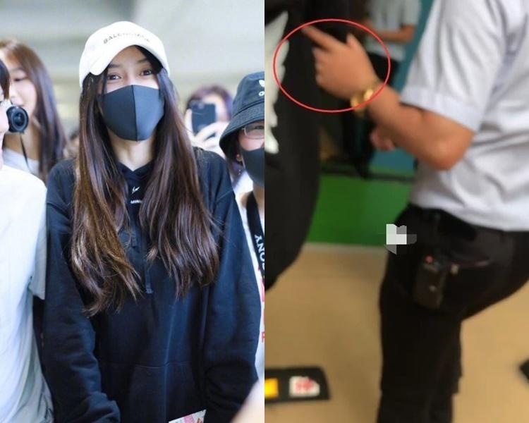 粉絲拍下Baby在機場被保安推的片。(網圖)