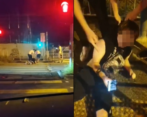 【元朗暴力】屯門黑衣男遭拖行過馬路 警稱會主動調查