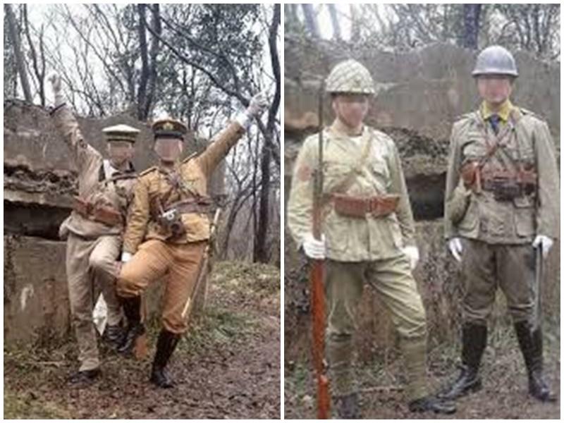曾有男子穿日軍服在南京紫金拍照亦遭批評。網圖