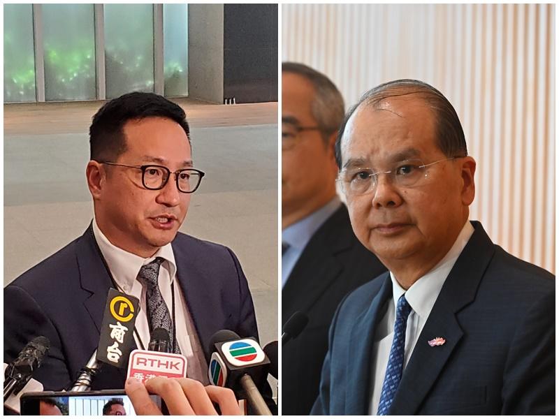 警察協會代表陳民德(左)、張建宗(右)。資料圖片