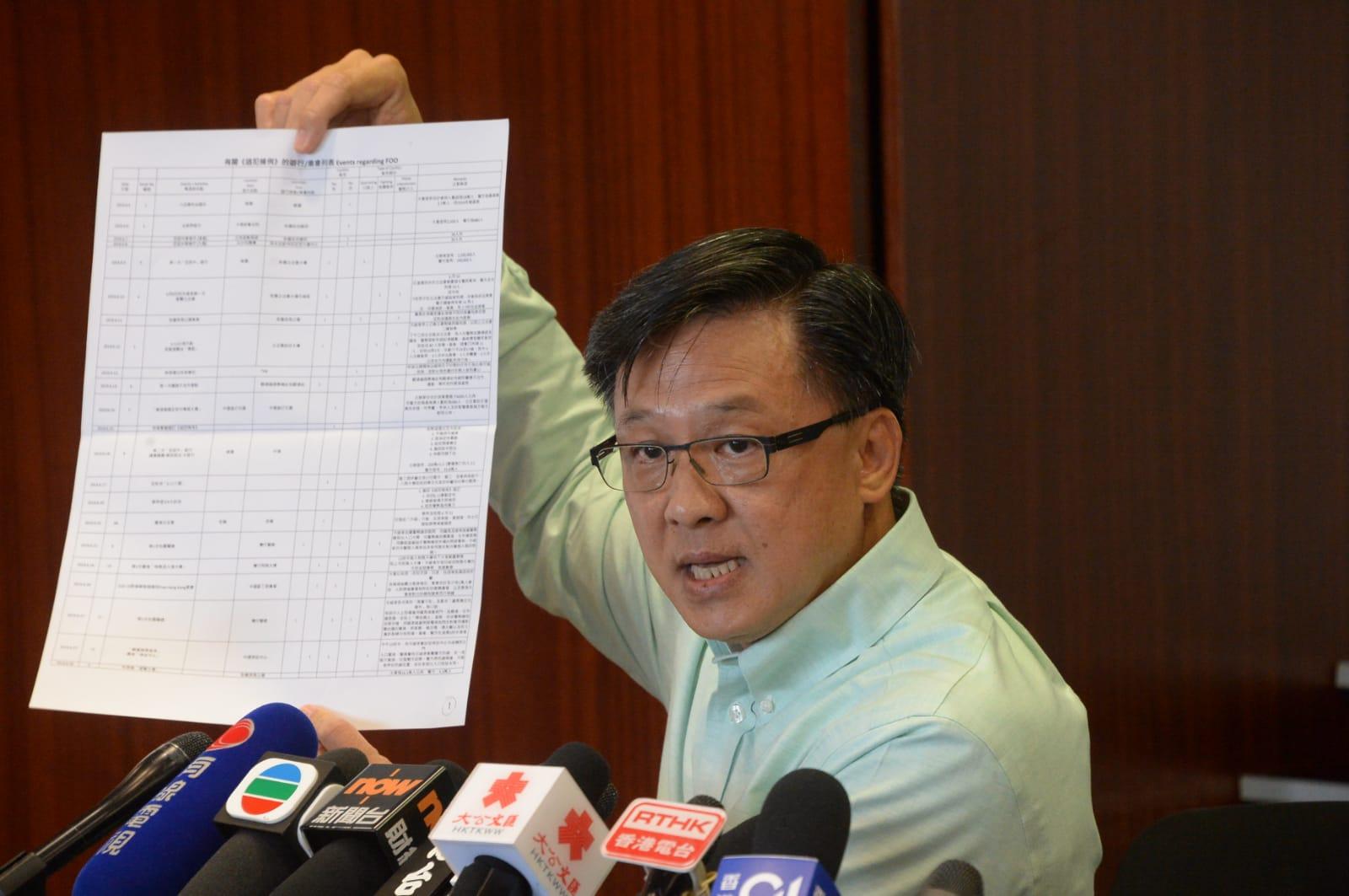 立法會議員何君堯今開記者會,指無對朱凱廸作出任何恐嚇的意念,又促警方拘捕多名民主派議員。