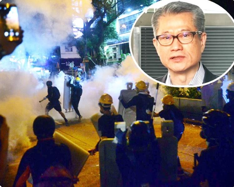 陳茂波(小圖)指過去兩月的衝擊和目前正醞釀的一些行動,傷及經濟元氣,受害的將是市民。