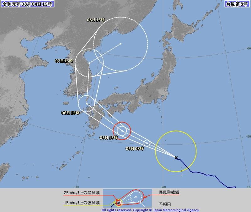 風暴范斯高的預測路徑。日本氣象廳