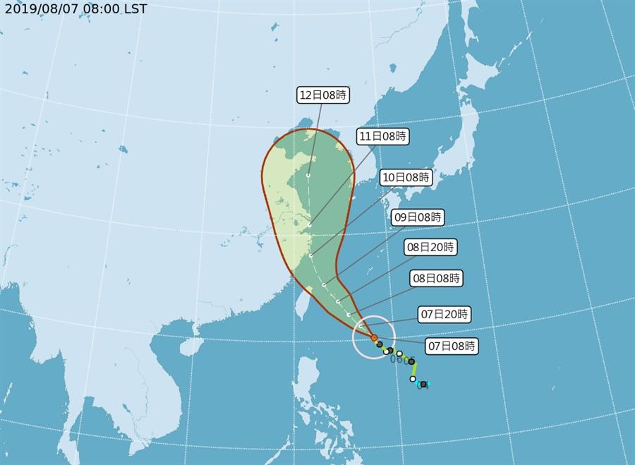 台灣中央氣象局未來路綫。網圖