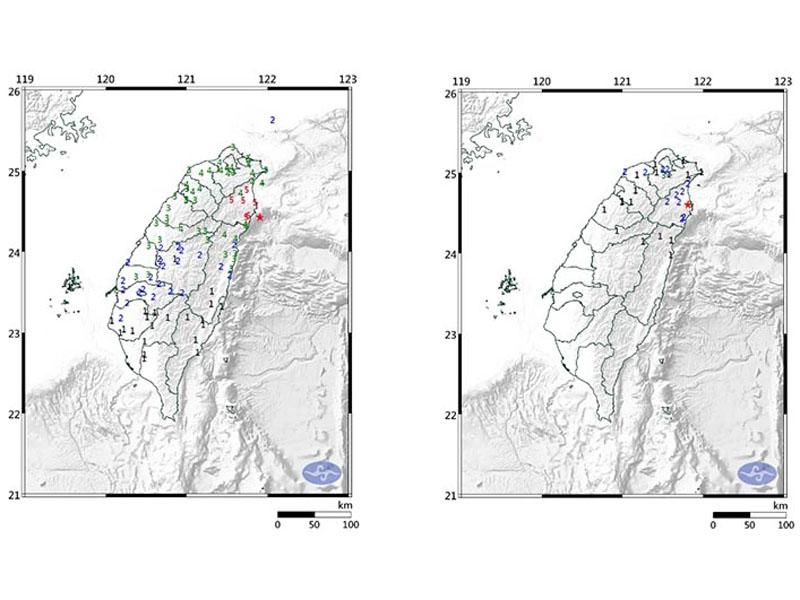 台灣東部海域上午5時28分發生6級地震(左),到上午7時02分宜蘭縣再發生4.6級地震(右)。(網圖)