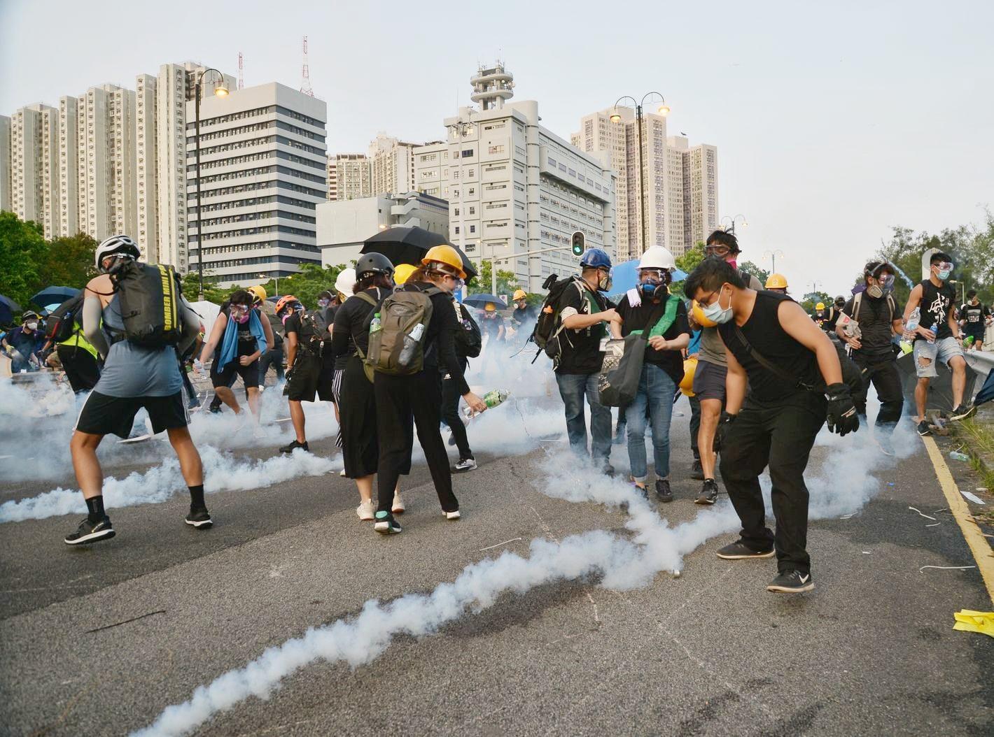 在早前的大埔罷工集會中,有示威者霸佔道路。資料圖片