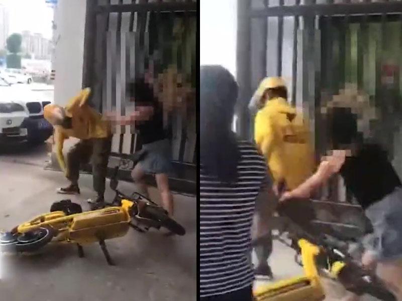 黃衫的外賣員慘被女食客追打。(網圖)