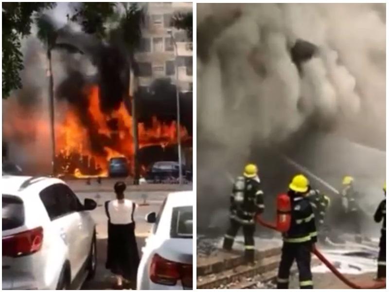 深圳龍崗一間汽車修理店發生大火,未知是否造成人員傷亡。影片截圖