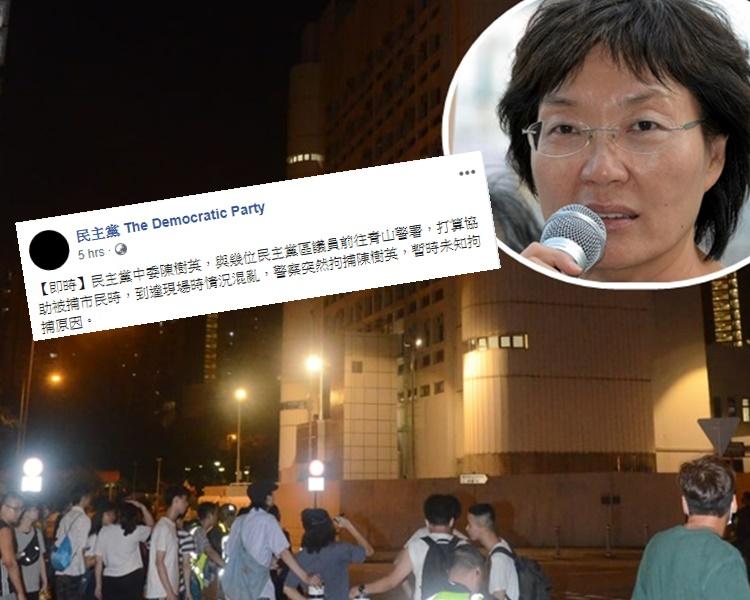 數百人一度在青山警署外聚集,聲援被捕人士。小圖為陳樹英及民主黨FB貼文。