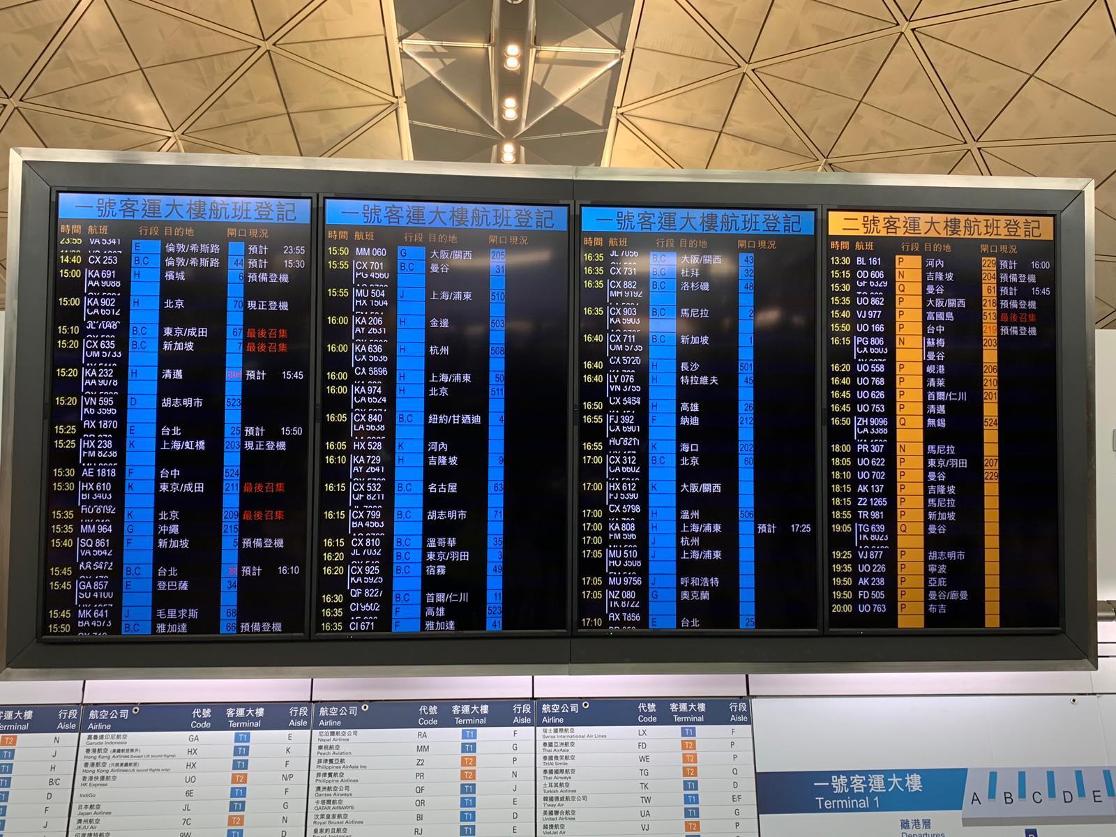 機管局稱晚上6時起重新編配航班。