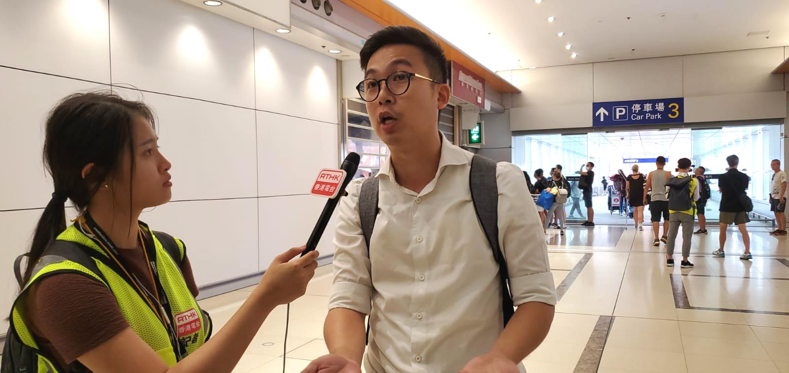 香港乘客吳先生不滿機管局拒處理示威者。