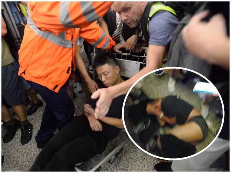 男子受困逾2小時暈倒,期間疑被示威者扯去褲子,露出內褲。