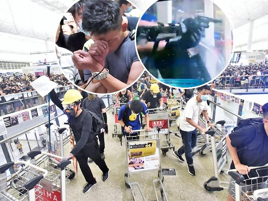 警員昨晚協助疑似公安男子上救護車時,與示威者爆發衝突,其間有警員拔槍戒備。
