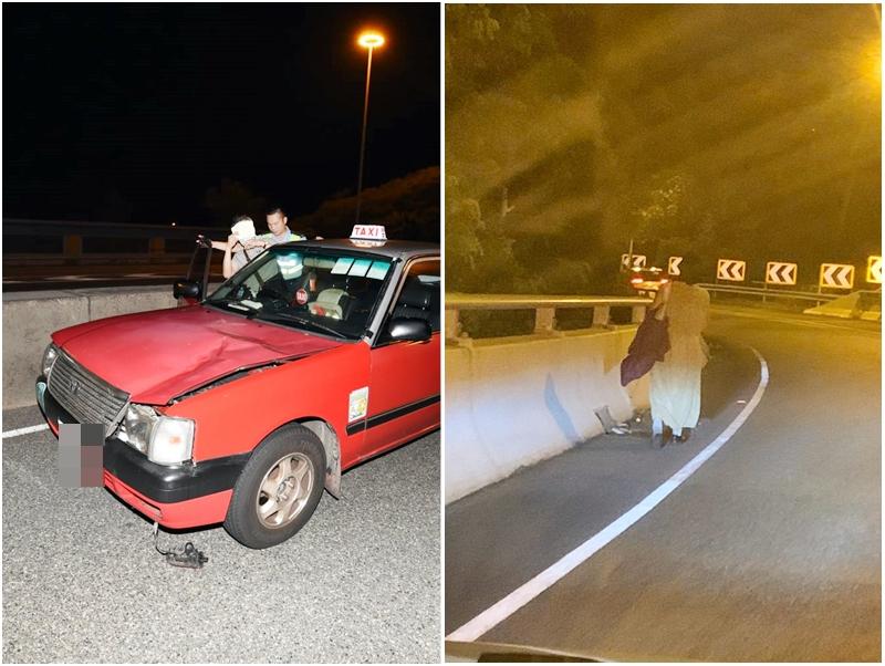 長裙女子凌晨在公路行走(左)。讀者提供