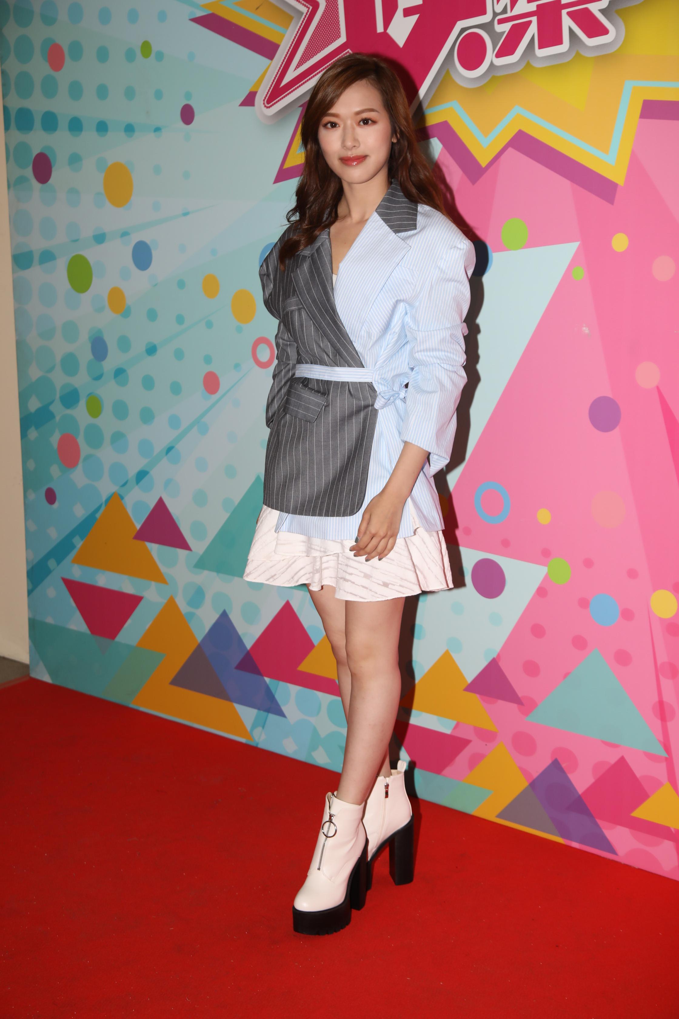 馮盈盈前晚為到無綫節目《娛樂大家》進行錄影。