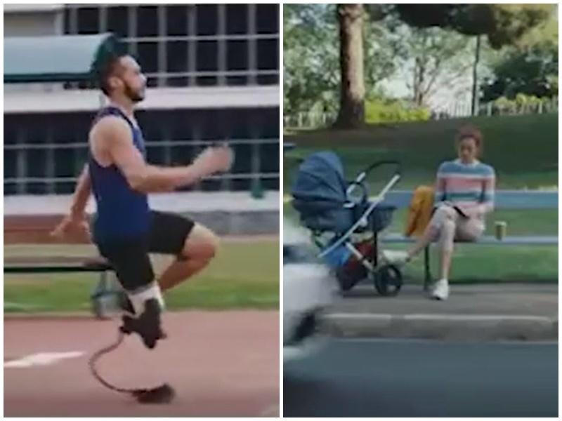 福士車廠廣告中,斷腳男子跳遠與身旁有嬰兒車的女士,被指暗示女子只會「湊仔」。廣告截圖