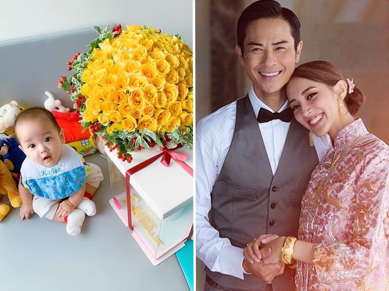 陳凱琳在IG上載一張兒子Rafael眼仔睩睩坐在一大束鮮花及蛋糕旁的照片。 陳凱琳IG