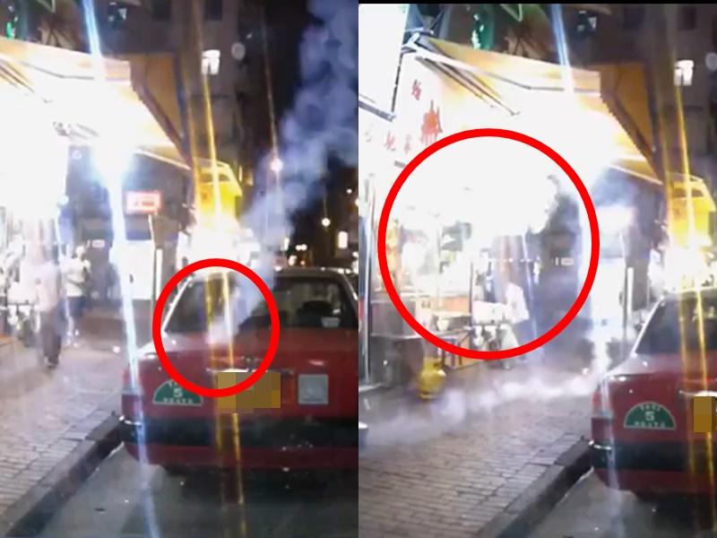 催淚彈擊中的士彈入粉麵店。影片截圖