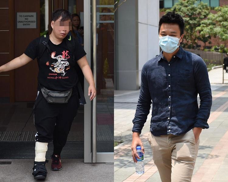 區得福(左)及彭及鍵(右)獲准保釋離開法院。